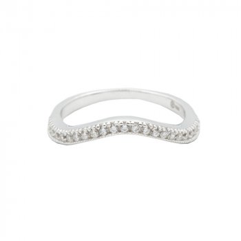 Sterling Silver CZ Curved Band Ring (R-1485)