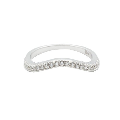 Sterling Silver CZ Curved Ring (R-1485)