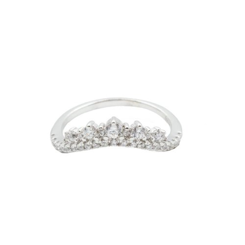 Sterling Silver CZ Curved Crown Ring (R-1486)