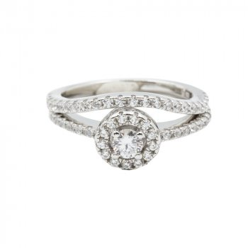Sterling Silver CZ Halo Ring with Pave Band (R-1487)