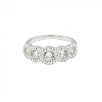 Sterling Silver CZ Halo Bubble Ring (R-1488)