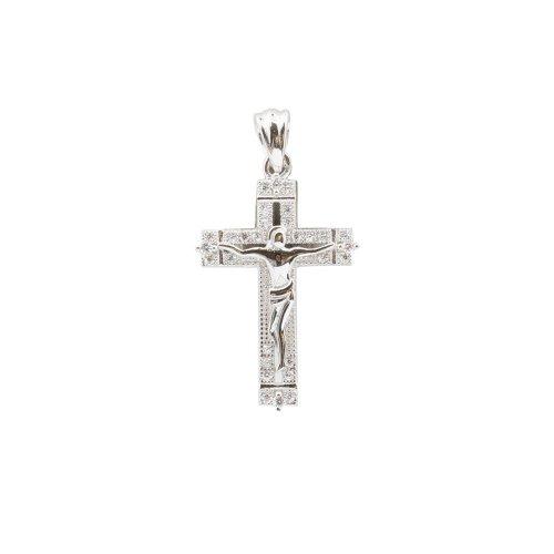 Sterling Silver CZ Jesus Cross Pendant (CR-1400)