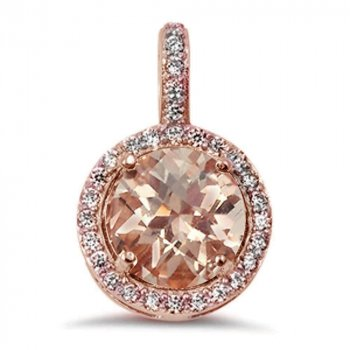 Sterling Silver Rose Gold Simulated Morganite Round CZ Halo Pendant (P-1427)