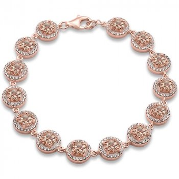 Sterling Silver Simulated Morganite CZ Round Halo Bracelet (BR-1350)