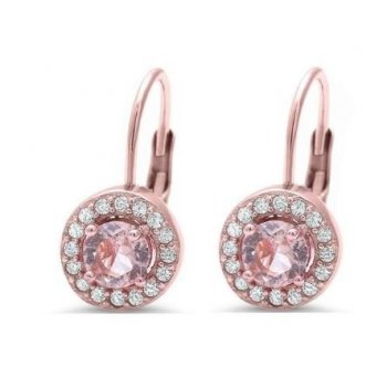 Sterling Silver Rose Gold Simulated Morganite CZ Halo Leverback Earrings (LB-1010)
