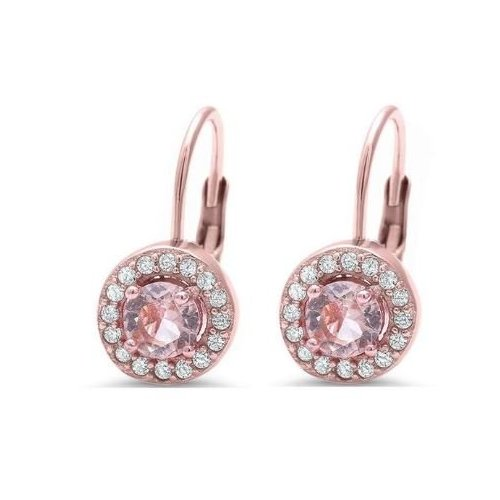 Sterling Silver Rose Gold CZ Halo Leverback Earrings (LB-1010)