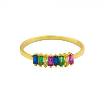 Sterling Silver Gold Plated Rainbow Baguette Ring (R-1496)