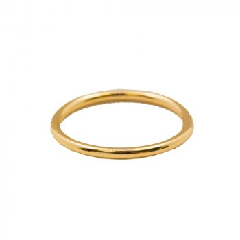 Sterling Silver Gold Plated Plain Stackable Ring (R-1492-G)