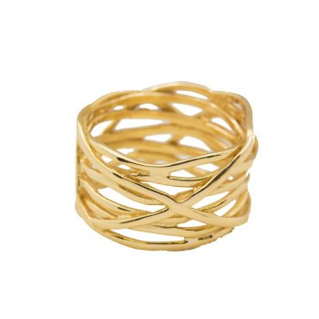 Sterling Silver Gold Plated Thick Woven Ring (R-1499-G)