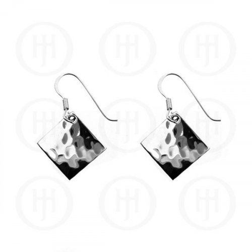 Silver Plain Dangle Hammered Earrings Diamond (ER-1004)