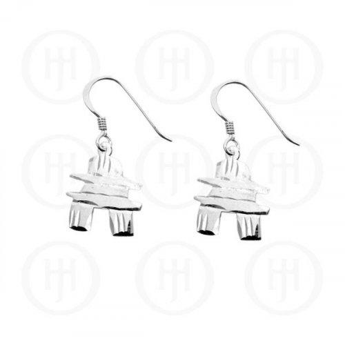 Silver Plain Dangle Earrings Canadian Inukchuk (ER-1058)