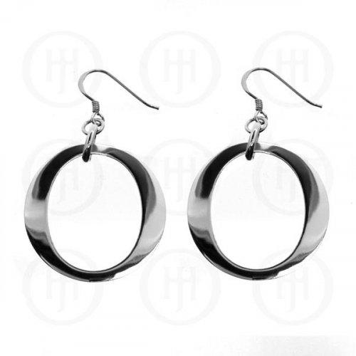 Silver Plain Dangle Round Earrings (ER-1014)