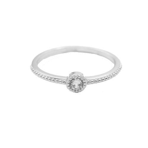 Sterling Silver Dotted CZ Ring (R-1549)