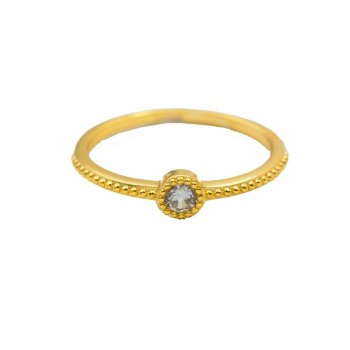 Sterling Silver Gold Plated Dotted CZ Ring (R-1549-G)
