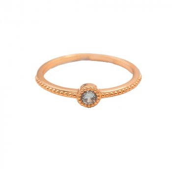 Sterling Silver Rose Gold Plated Dotted CZ Ring (R-1549-R)