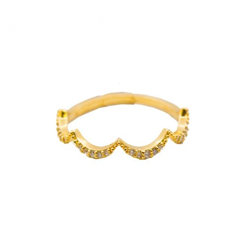 Diamond Paved 10K Gold Curved Ring .10CTW (GR-10-1084)