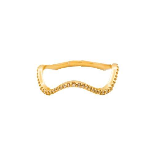 Diamond Paved 10K Gold Wave Ring .18CTW (GR-10-1085)