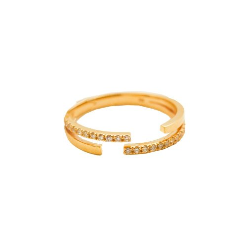Diamond 10K Gold Double Layered Ring (GR-10-1086)