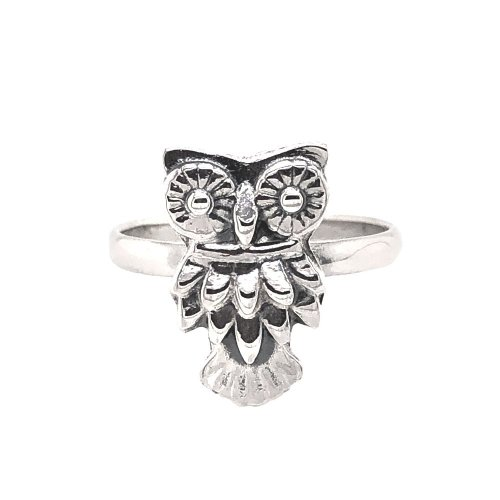 Plain Sterling Silver Owl Ring (R-1529)