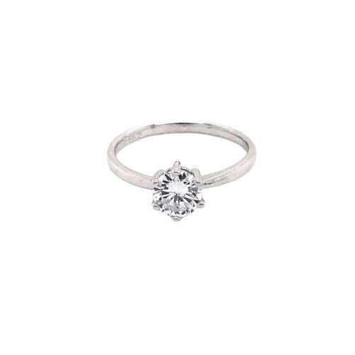Sterling Silver CZ Traditional 6 Prong Ring (R-1515)