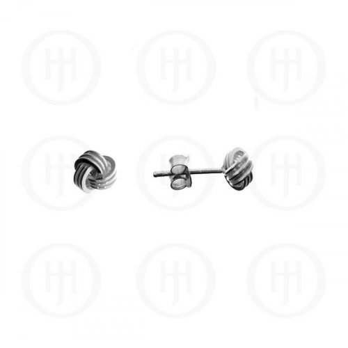 Silver Plain Love Knot Stud Earrings 4mm Rhodium Plated (ST-1004)