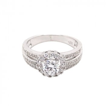 Sterling Silver CZ Two Stacks Layered Stone Ring (R-1525)