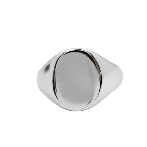 Men's Silver Plain Rhodium Plated Oval Signet Ring (R-1127)