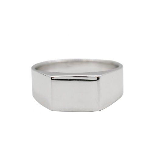 Men's Silver Plain Rhodium Plated Rectangle Signet Ring (R-1245)