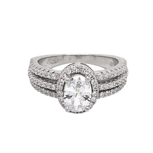 Sterling Silver Oval CZ Two Stacks Layered Stone Ring (R-1525-O)