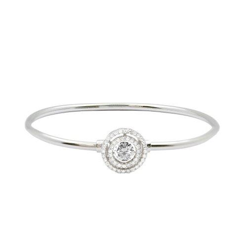 Sterling Silver Dancing Diamond Bangle (IB-1083)