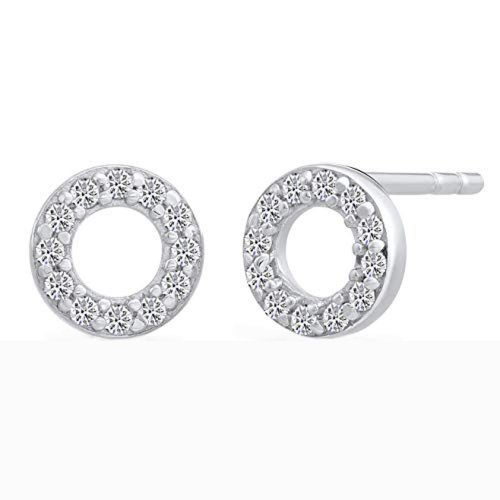 Silver Assorted CZ Stud Earrings Circle of Life (ST-1021)