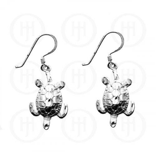 Silver Plain Dangle D/C Turtle Earrings (ED11084)