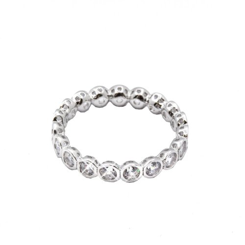 Silver Rhodium Plated Bubble Eternity CZ Band Ring (R-1233)
