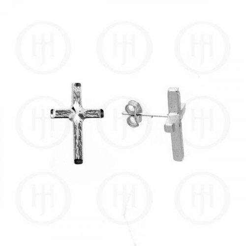 Silver Plain Stud D/C Cross Earrings (ST-XXXX)