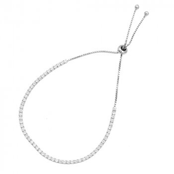 Sterling Silver Adjustable CZ Bracelet (BR-1199)