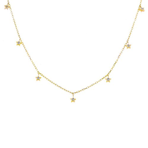 Diamond 10K Gold Star Necklace .08CTW (GN-10-1175)