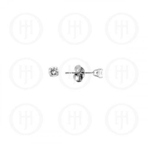 14K White Gold Earrings Round CZ Stud 2mm (WG-CZ-2-14K)