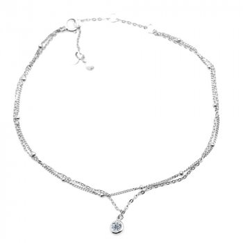 Sterling Silver Double Chain CZ Pearl Anklet (ANK-1075)