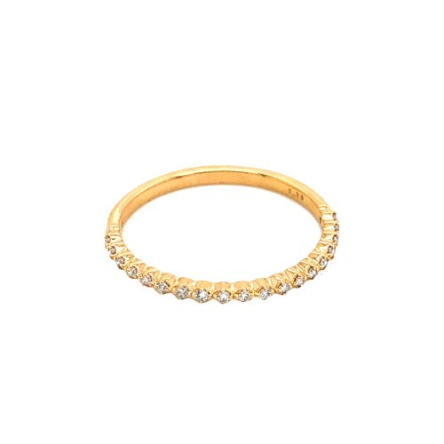 Half Pave Diamond 10K Gold Stackable Ring .08CTW (GR-10-1080)