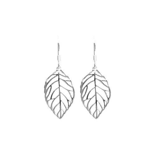 Silver Plain Dangle Feather Earrings (ER-1066)