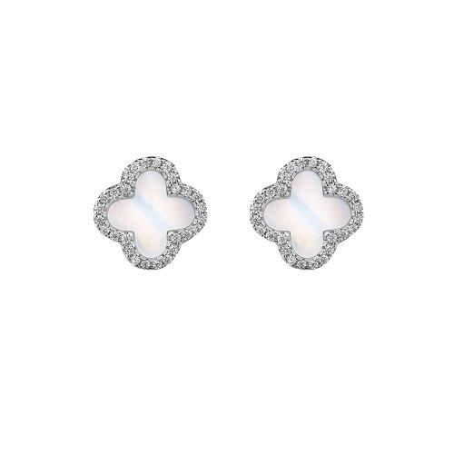 Sterling Silver Rhodium Plated Designer Inspired Vancleef Stud Earrings (ST-1072)