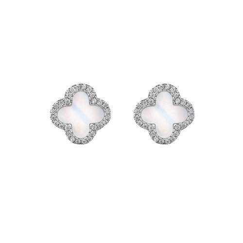 Sterling Silver Rhodium Plated Designer Inspired Vancleef Stud Earrings (ST-1072)