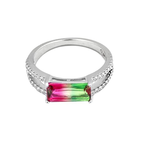 Sterling Silver Horizontal Rectangle Synthetic Watermelon Tourmaline Split CZ Ring (R-1556)
