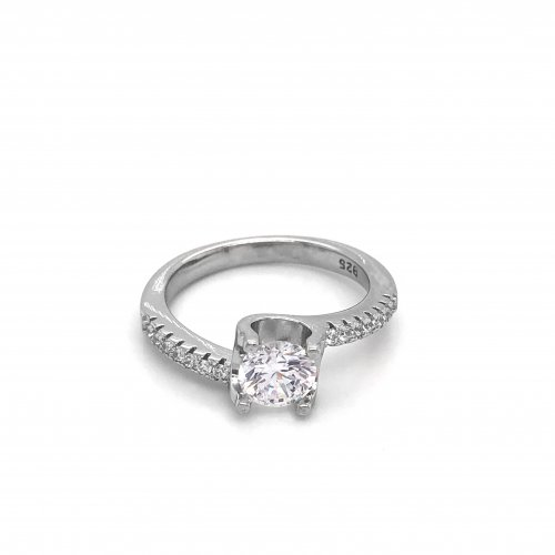 Sterling Silver CZ Classic Bypass Engagement Ring (R-1386)
