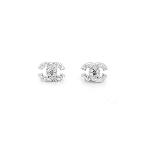 Sterling Silver Chanel Inspired CZ Studs (ST-1406)