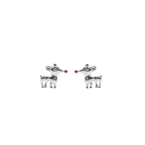 Sterling Silver CZ Rudolph the Red Nosed Reindeer Studs (ST-1278)