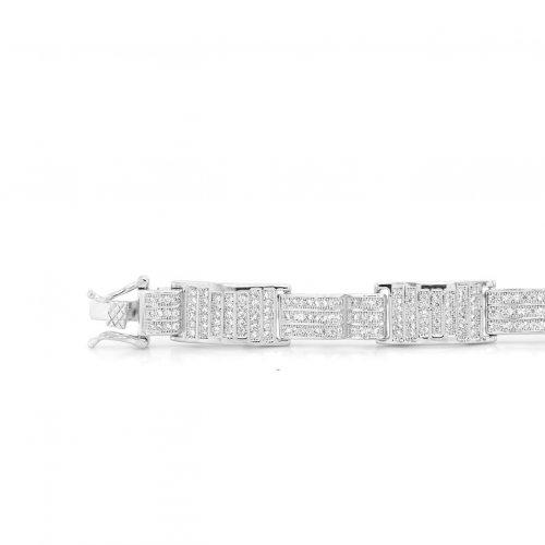 Sterling Silver CZ Mens Trendy Box Bracelets (BR-CZ-140)