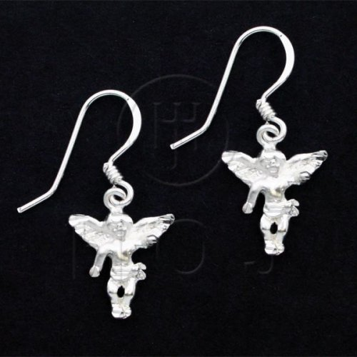 Silver Plain Dangle Earrings Angel (ED4360)