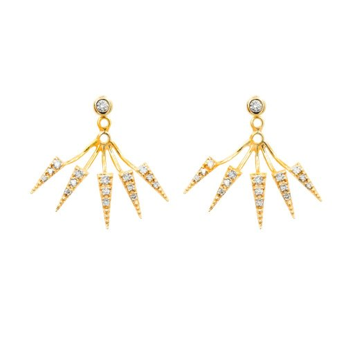 Diamond Bezel 10KT Gold Jacket Earrings with Pointed Paved Ends .24CTW (GE-10-1163)