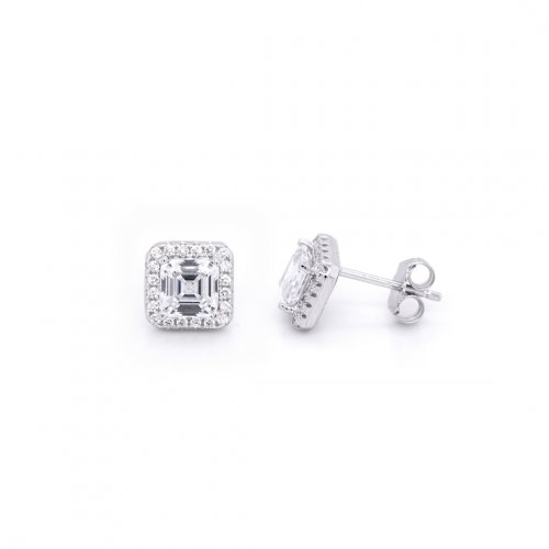 Silver Square CZ Halo Stud Earrings (ST-1059)